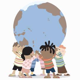 Barnen och ungdomarna samarbetar för att skriva artiklar.