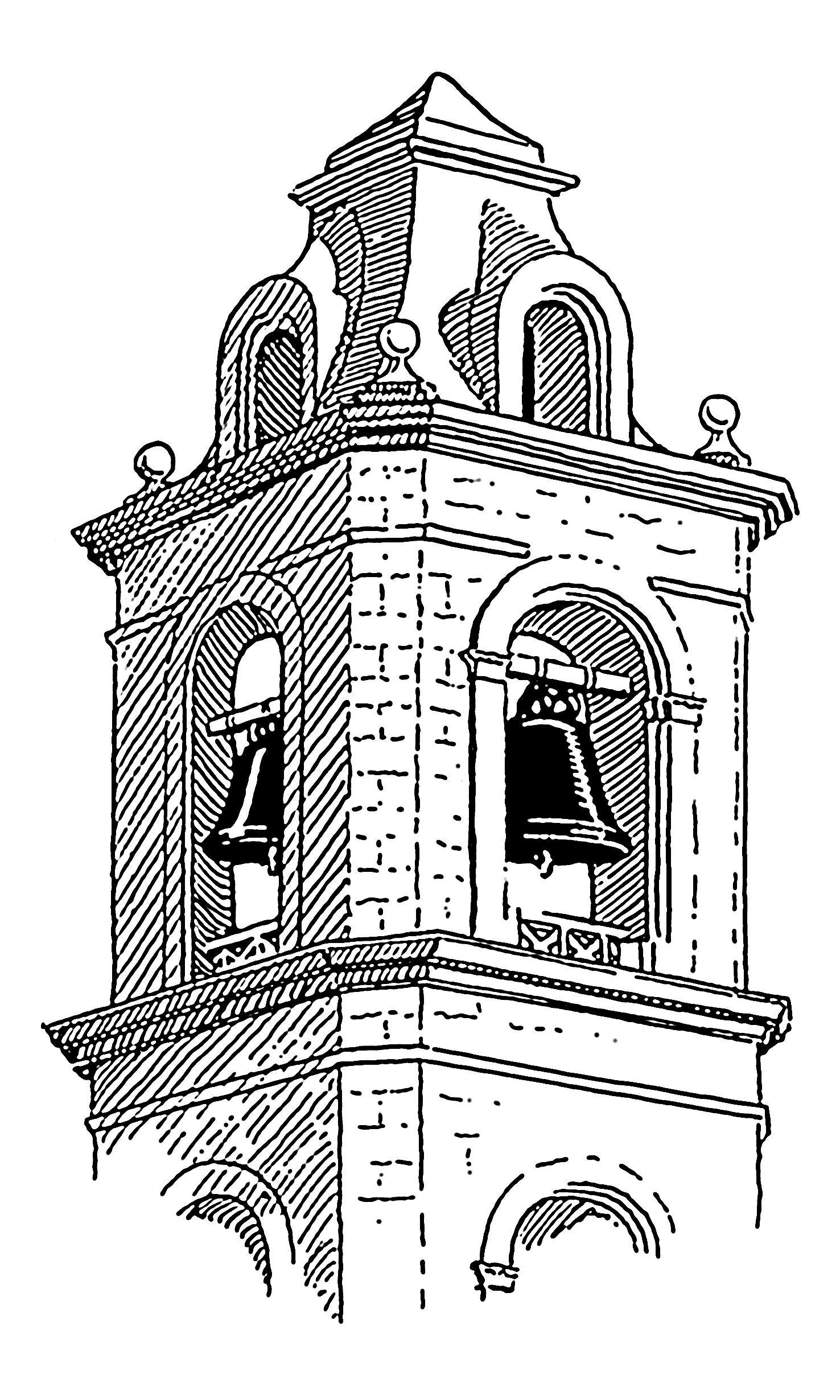 Dessin d 39 un clocher d 39 glise - Eglise dessin ...