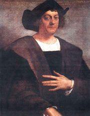 Det här är en målning på Christofer Columbus.
