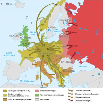 Les succès des Forces de l'Axe (Allemagne et ses alliés) lors des trois premières années de la Seconde Guerre mondiale en Europe (1939-1942)