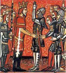 Roland prêtant serment à son roi Charlemagne