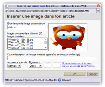 Insertion d'une image dans un article de Wikimini