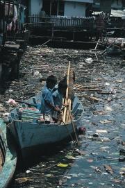 Fleuve pollué par des déchets ménagers