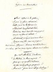 Première page du manuscrit écrit par Rouget de Lisle