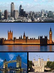 En haut: la City, le quartier des affaires de Londres / Au milieu: le Palais de Westminster / En bas à gauche: Tower Bridge / En bas à droite: Tour de Londres.