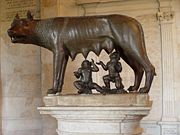 Selon la légende, Romulus et Rémus auraient été recueillis par une louve, comme le montre cette sculpture.