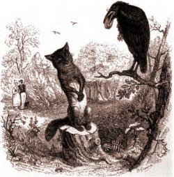 Le corbeau et le renard, illustration par Grandville (1803-1847)