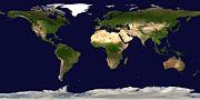 Vue satellite de l'ensemble des continents et océans de la Terre.